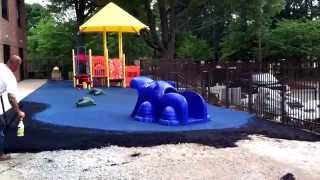 Charlotte Playground Project - Video 5 Blue Water Colored Playground Surfacing
